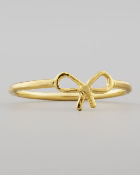 Small Gold-Dipped Bow Ring