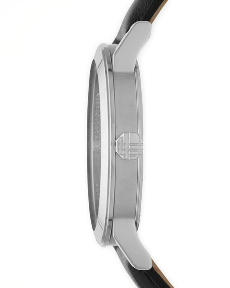 Sunray White Dial Check Watch with Leather Strap