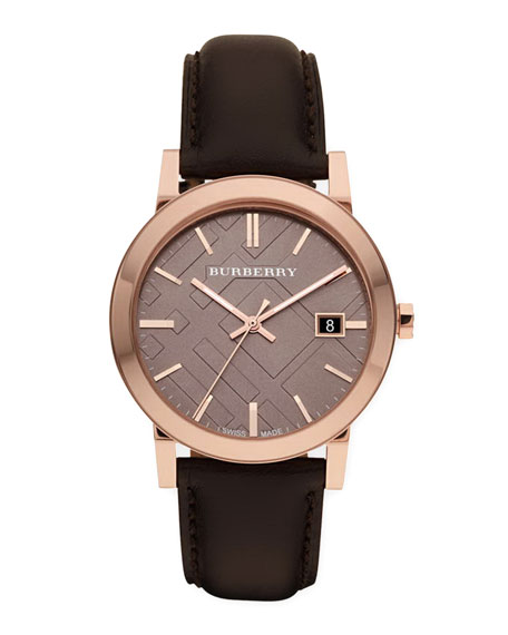 Sunray Brown Dial Check Watch with Leather Strap, Rose Golden