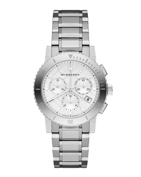 Round Steel Chronograph Watch, 38mm