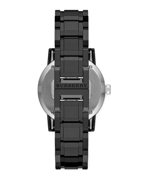Ceramic Three-Hand Check-Dial Watch, Black