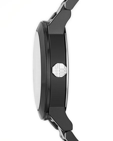 Ceramic Three-Hand Check-Dial Watch, Black