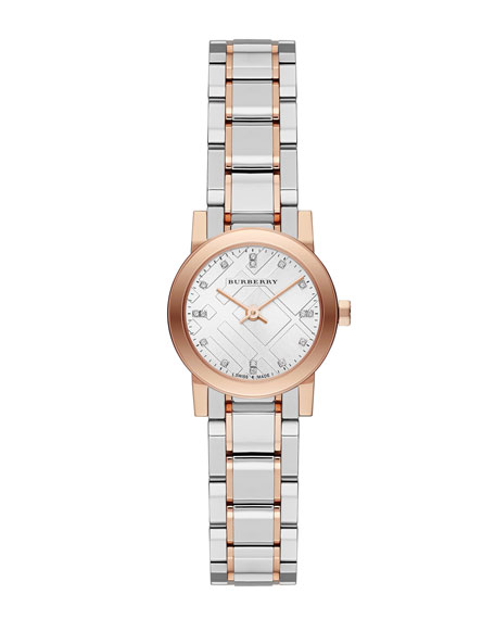 Rose Golden Stainless Steel Diamond Watch, 26mm