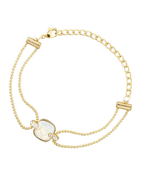 Double-Stranded Crystal Ball Chain Bracelet, Clear