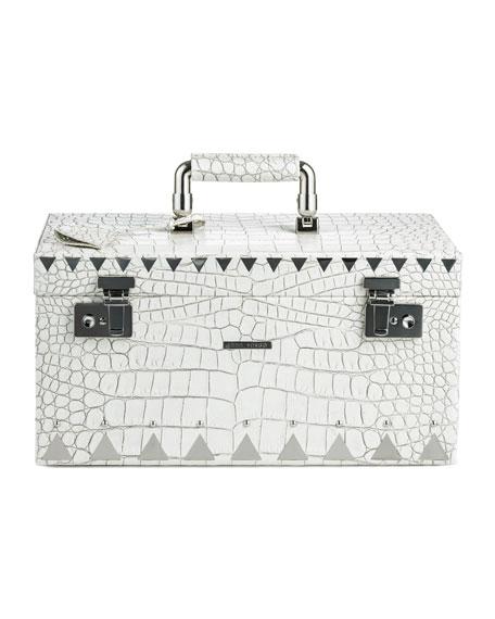 Crocodile-Embossed Jewelry Box, White