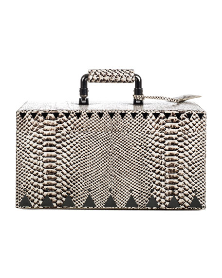 Snake-Embossed Jewelry Box, Black/White