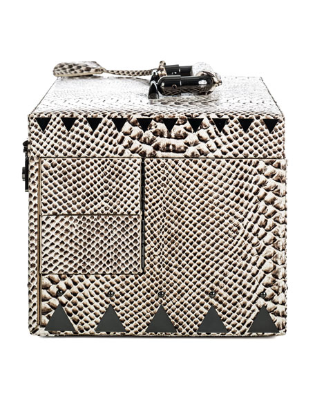 Snake-Embossed Jewelry Box, Black/White