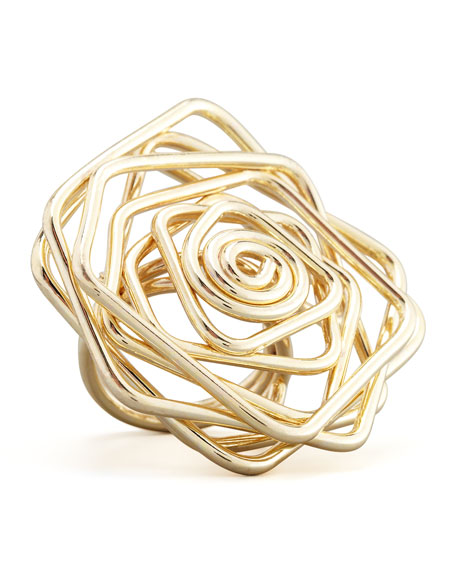 Twisted Wire Flower Ring, Gold