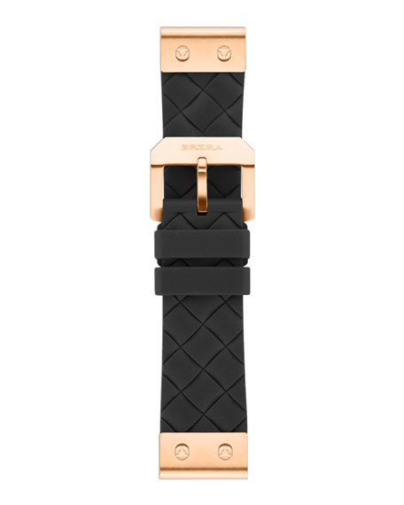 22mm Black Woven Silicone Strap, Rose Golden