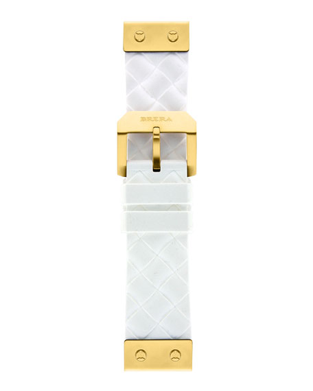 22mm White Woven Silicone Strap, Golden