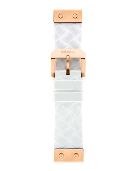 22mm White Woven Silicone Strap, Rose Golden