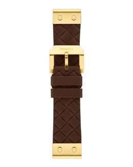 Brera 22mm Brown Woven Silicone Strap, Golden