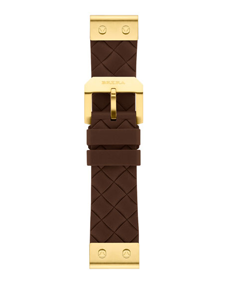 22mm Brown Woven Silicone Strap, Golden