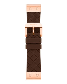 Brera 22mm Brown Woven Silicone Strap, Rose Golden