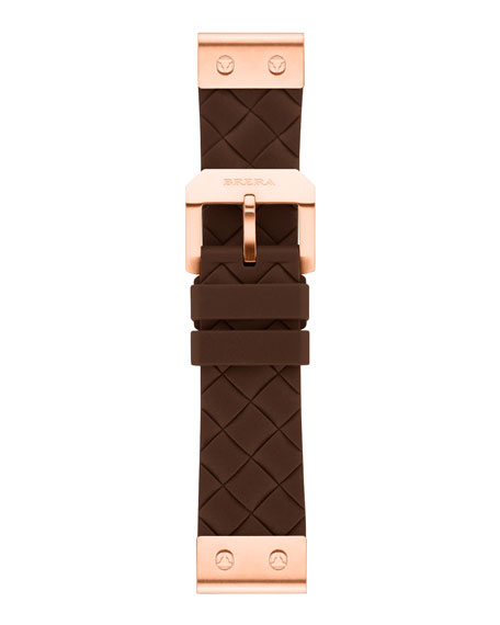 22mm Brown Woven Silicone Strap, Rose Golden