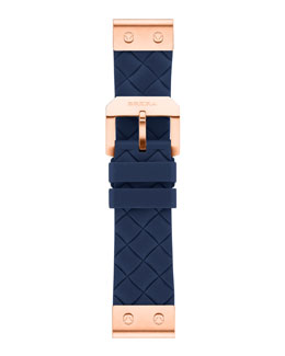 Brera 22mm Navy Woven Silicone Strap, Rose Golden