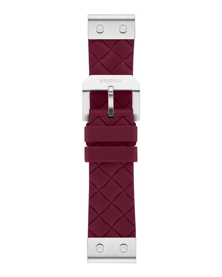 22mm Burgundy Woven Silicone Strap, Stainless