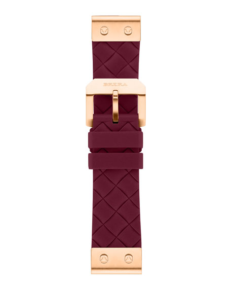 22mm Burgundy Woven Silicone Strap, Rose Golden