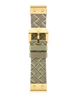 Brera 22mm Woven Metallic Silicone Strap, Golden