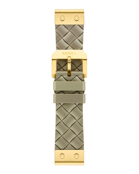 22mm Woven Metallic Silicone Strap, Golden