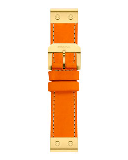Brera 22mm Papaya Calfskin Strap, Golden