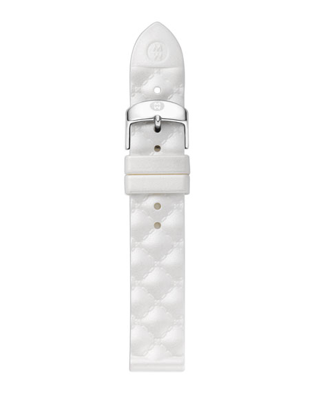 18mm Quilted Silicone Strap, White