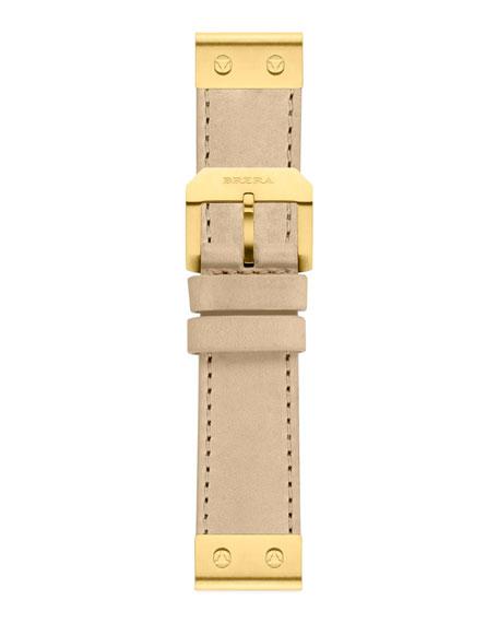 22mm Cappucino Calfskin Strap, Golden