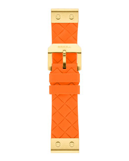 Brera 22mm Papaya Woven Silicone Strap, Golden