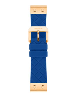 Brera 22mm Azure Woven Silicone Strap, Rose Golden
