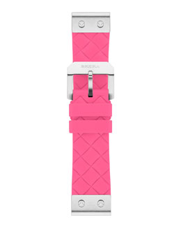 Brera 22mm Hot Pink Woven Silicone Strap, Stainless