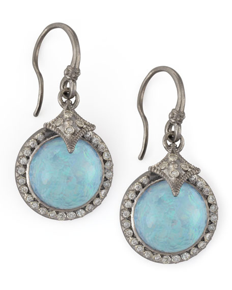 New World Round Opal & Diamond Drop Earrings