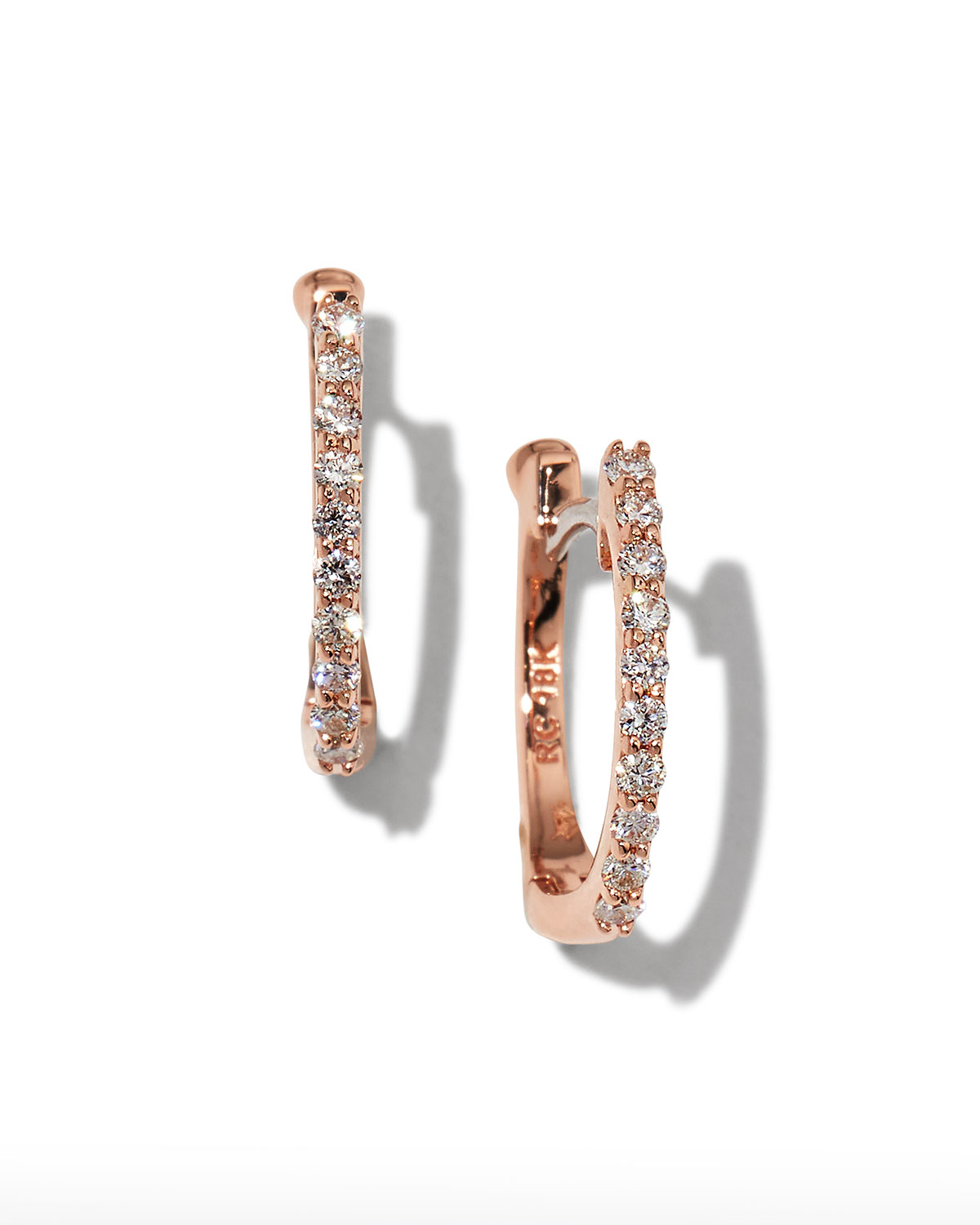 18k Rose Gold Diamond Baby Hoop Earrings