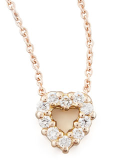 Roberto Coin Rose Gold Diamond Heart Pendant Necklace