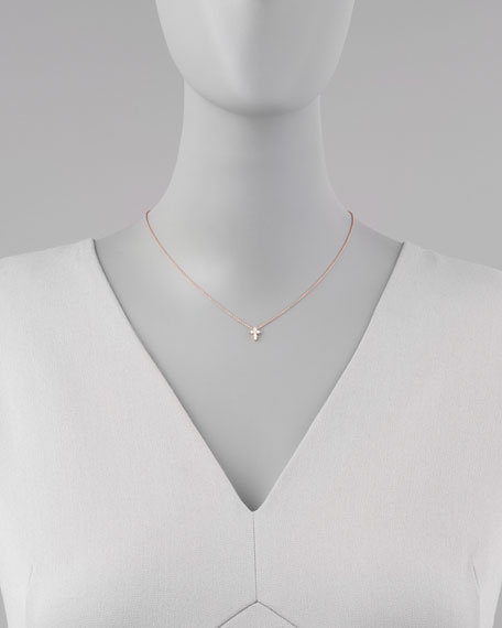 Rose Gold Diamond Cross Necklace