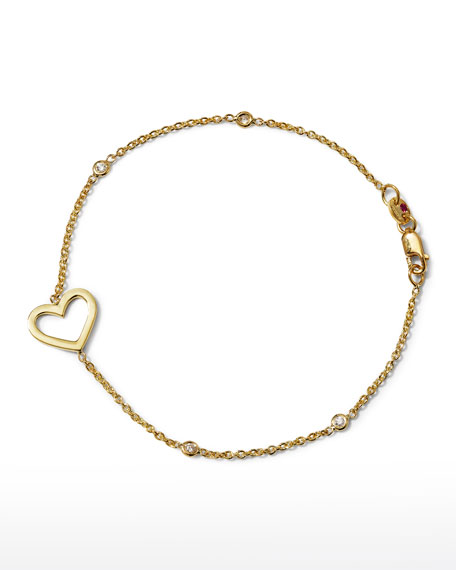 Roberto Coin Yellow Gold Heart Diamond Bracelet