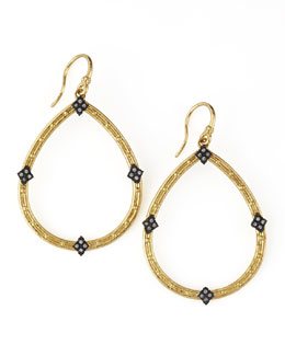 Armenta 18k Gold Open Diamond Pear Earrings
