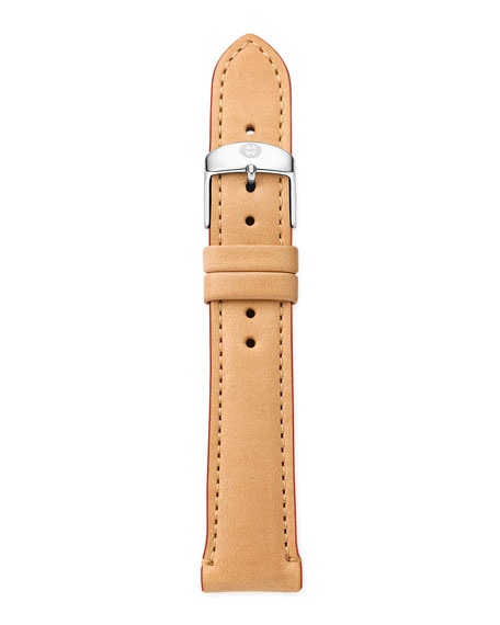 18mm Leather Watch Strap, Tan/Red