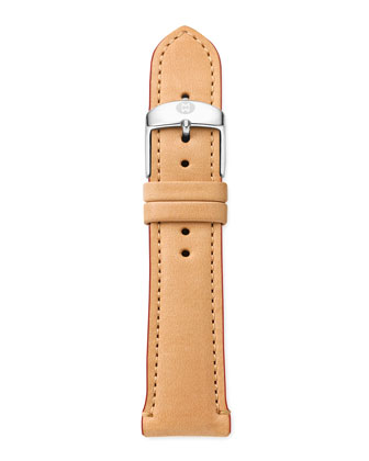 20mm Leather Watch Strap, Tan/Red