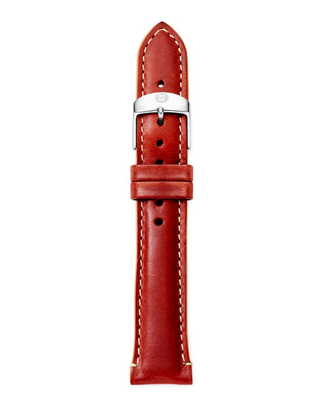 18mm Leather Watch Strap, Red/Tan