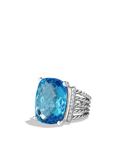 David Yurman Wheaton Ring with Blue Topaz and Diamonds