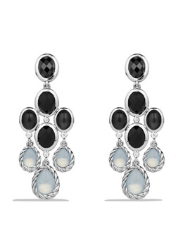 David Yurman Color Classic Chandelier Earrings with Moon Quartz and Black Onyx