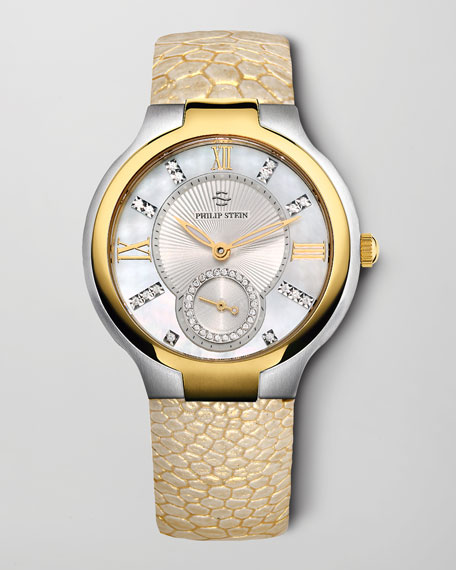 Small Two-Tone Mother-of-Pearl Diamond Watch & Ostrich Strap Gift Set