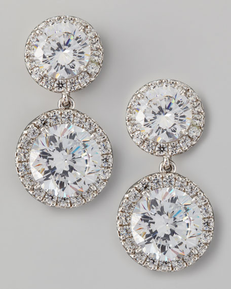 Double Cubic Zirconia Drop Earrings