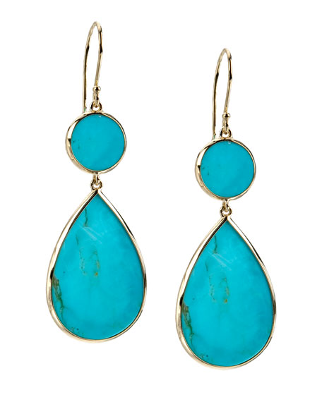 18K Gold Polished Rock Candy Two-Drop Earrings in Turquoise