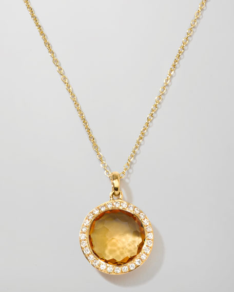 Ippolita 18k Lollipop Citrine & Diamond Pendant Necklace 6CS5h4