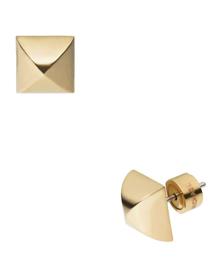 Pyramid-Stud Earrings, Golden