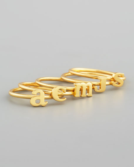 Gold Vermeil Letter Initial Ring