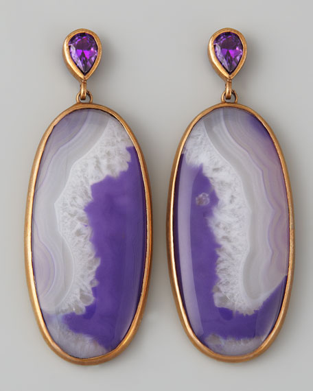 Purple Agate Oval Drop Earrings