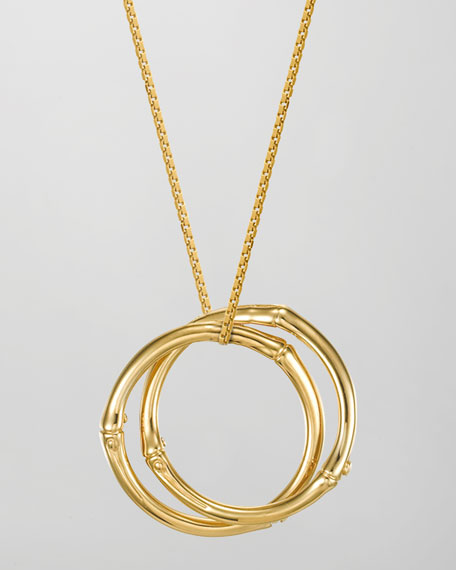 18k Gold Large Bamboo Interlinking Pendant Necklace