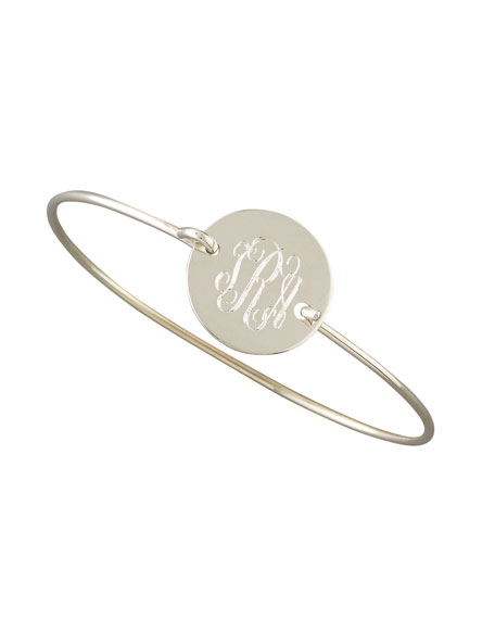 Chiara Monogrammed Circle Bracelet, Silver